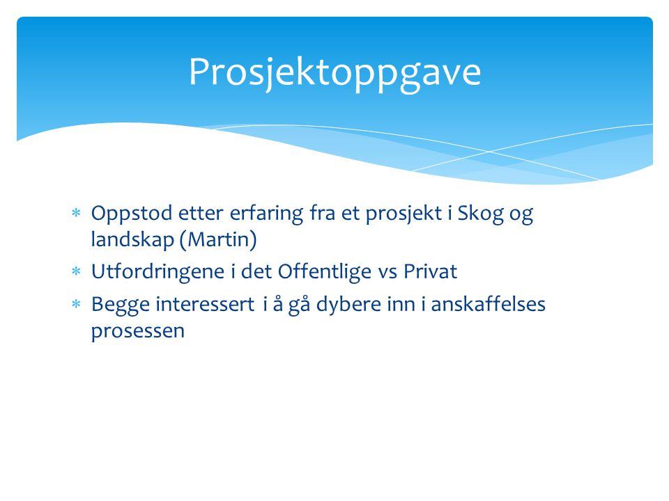 Prosjektoppgave Oppstod etter erfaring fra et prosjekt i Skog og landskap (Martin) Utfordringene i det Offentlige vs Privat.