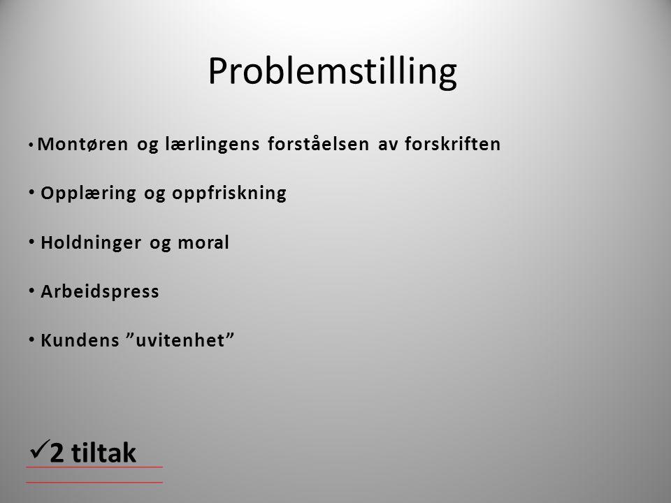 Problemstilling 2 tiltak Opplæring og oppfriskning Holdninger og moral