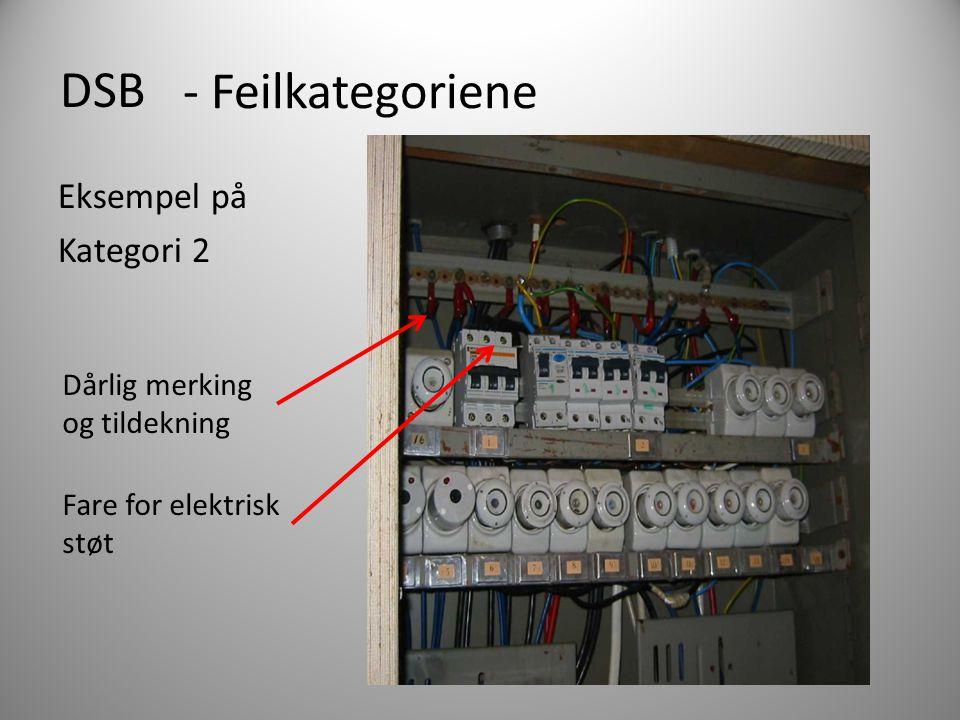 DSB - Feilkategoriene Eksempel på Kategori 2