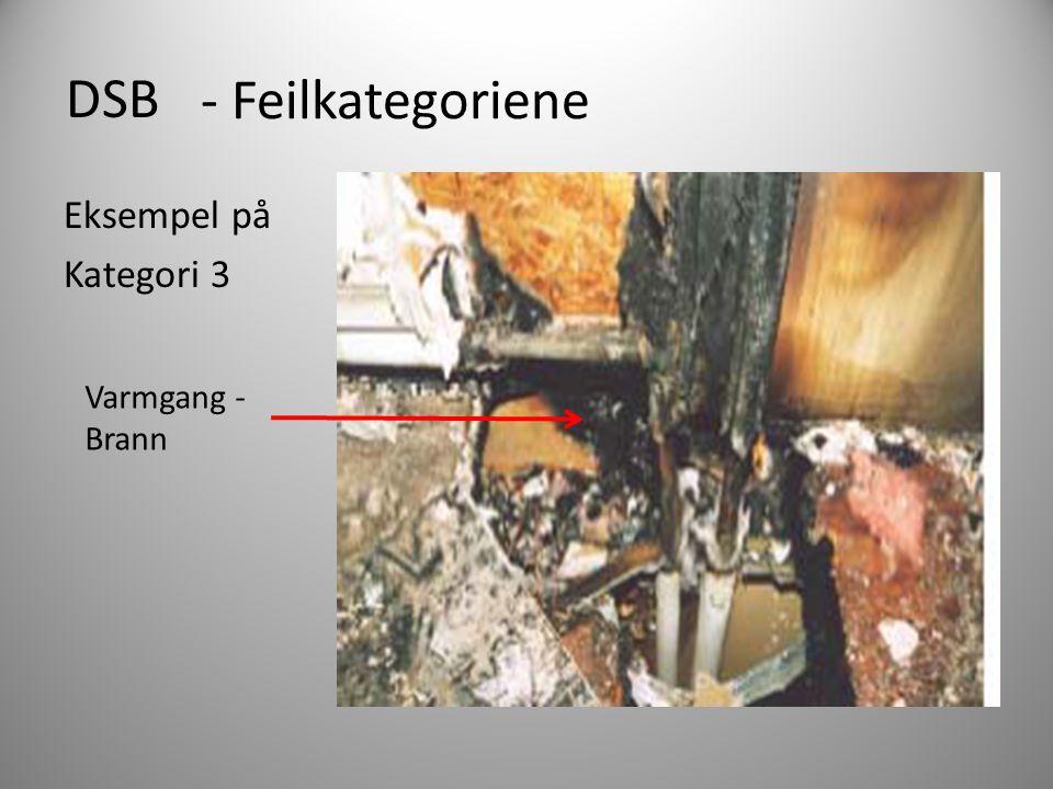 DSB - Feilkategoriene Eksempel på Kategori 3 Varmgang - Brann