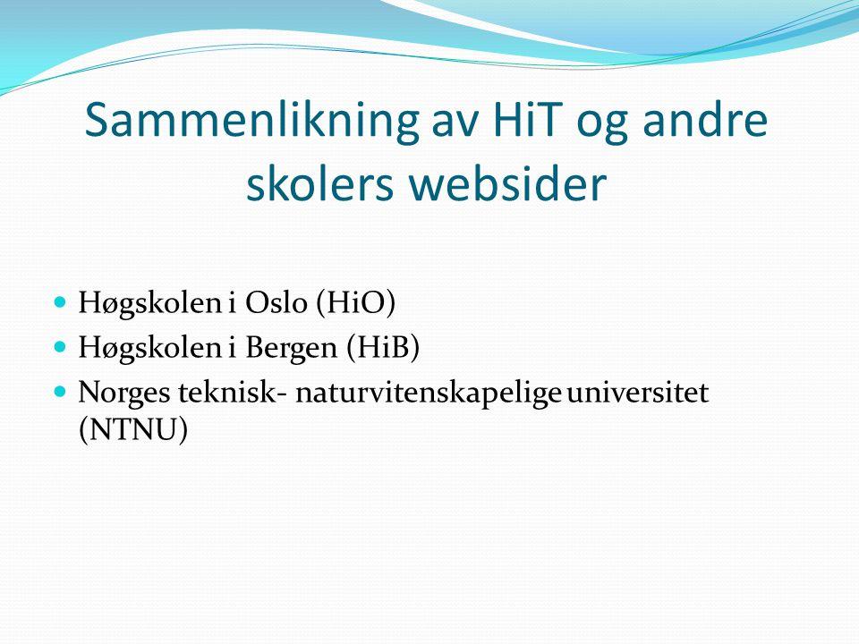 Sammenlikning av HiT og andre skolers websider
