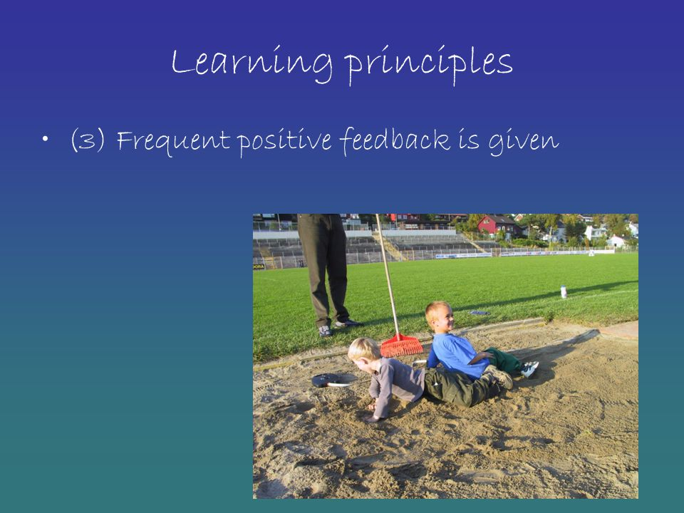 Learning principles (3) Frequent positive feedback is given