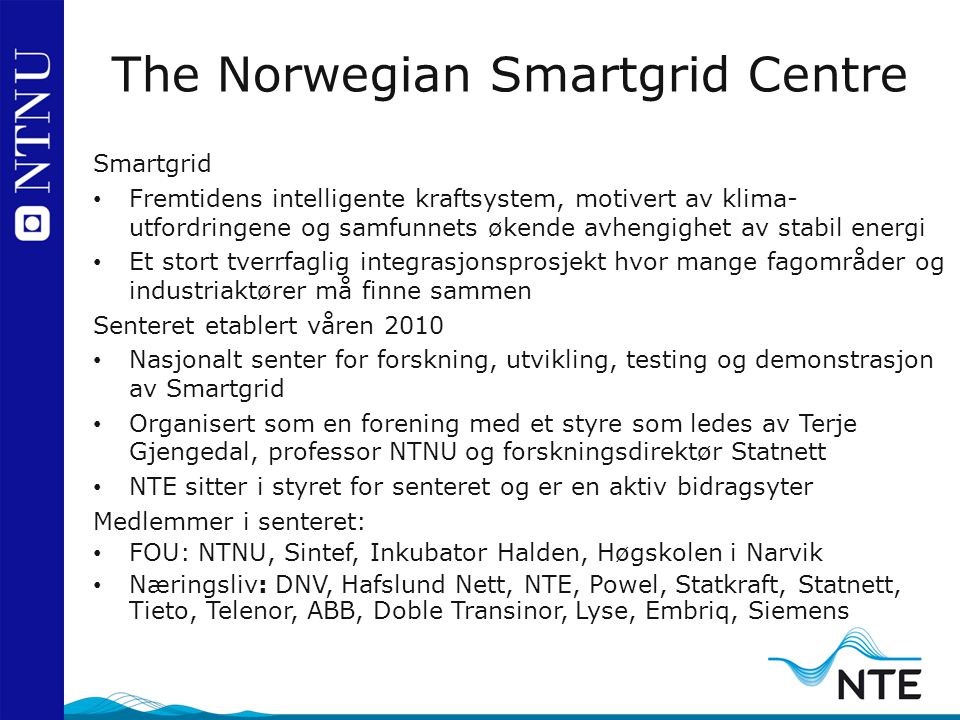 The Norwegian Smartgrid Centre