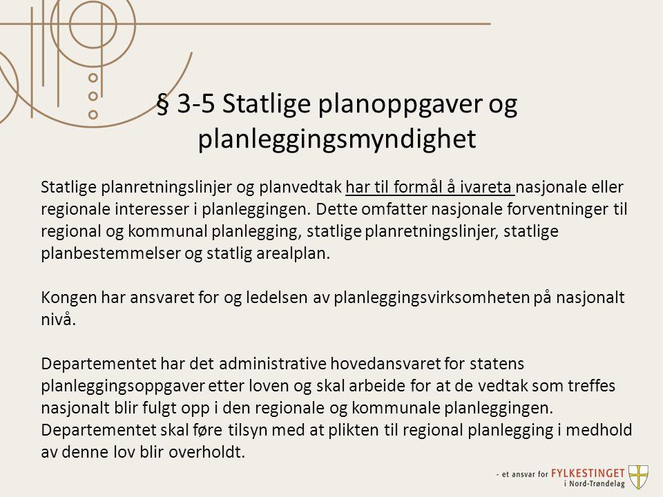 § 3-5 Statlige planoppgaver og planleggingsmyndighet