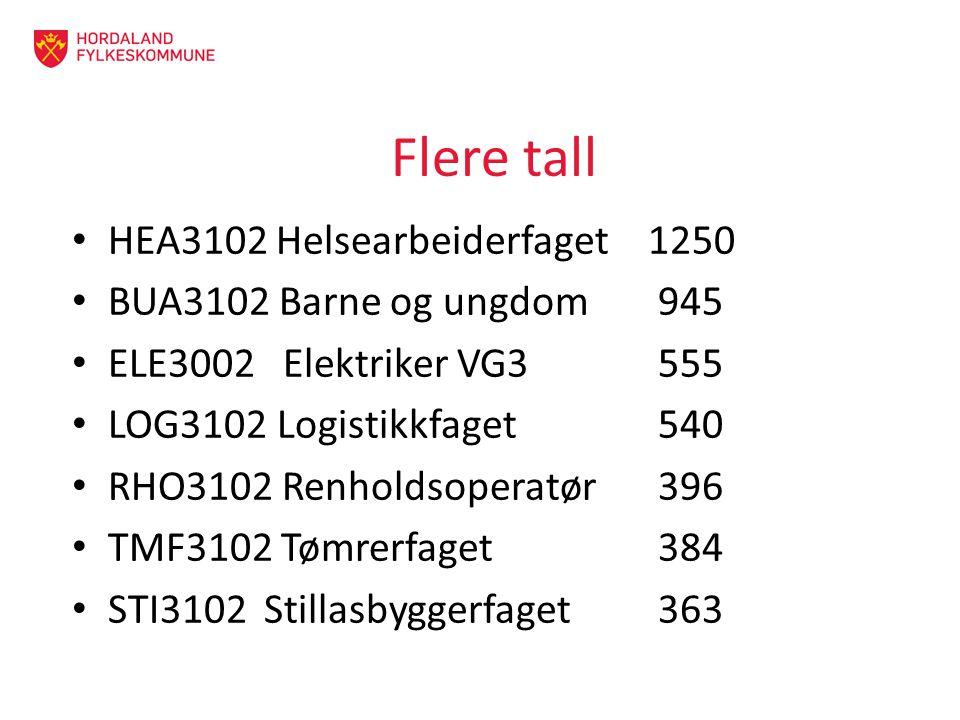 Flere tall HEA3102 Helsearbeiderfaget 1250 BUA3102 Barne og ungdom 945