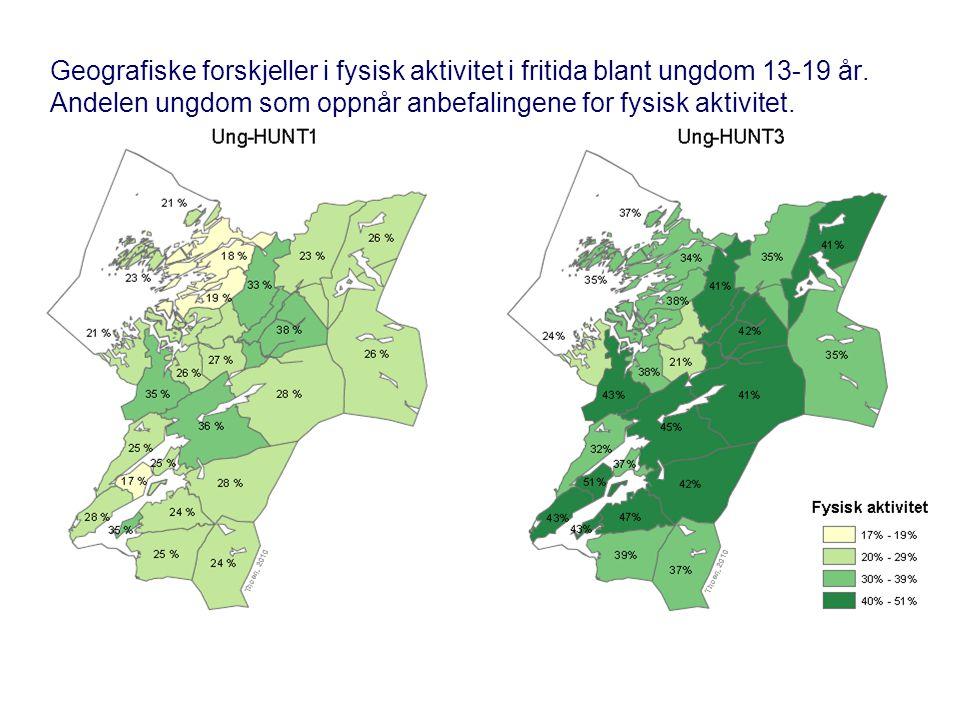 Geografiske forskjeller i fysisk aktivitet i fritida blant ungdom 13-19 år.