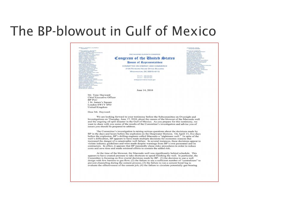 The BP-blowout in Gulf of Mexico