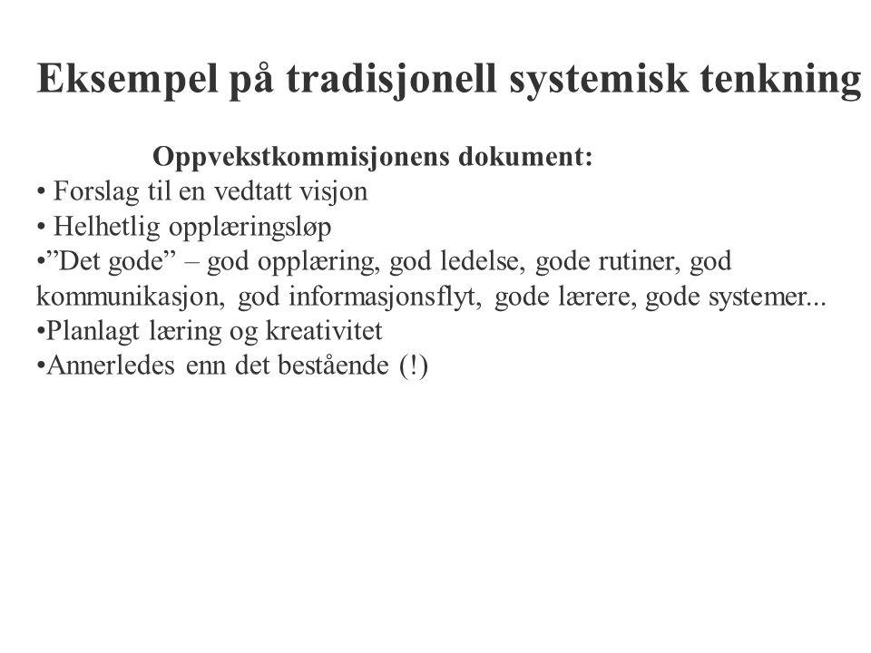 Eksempel på tradisjonell systemisk tenkning