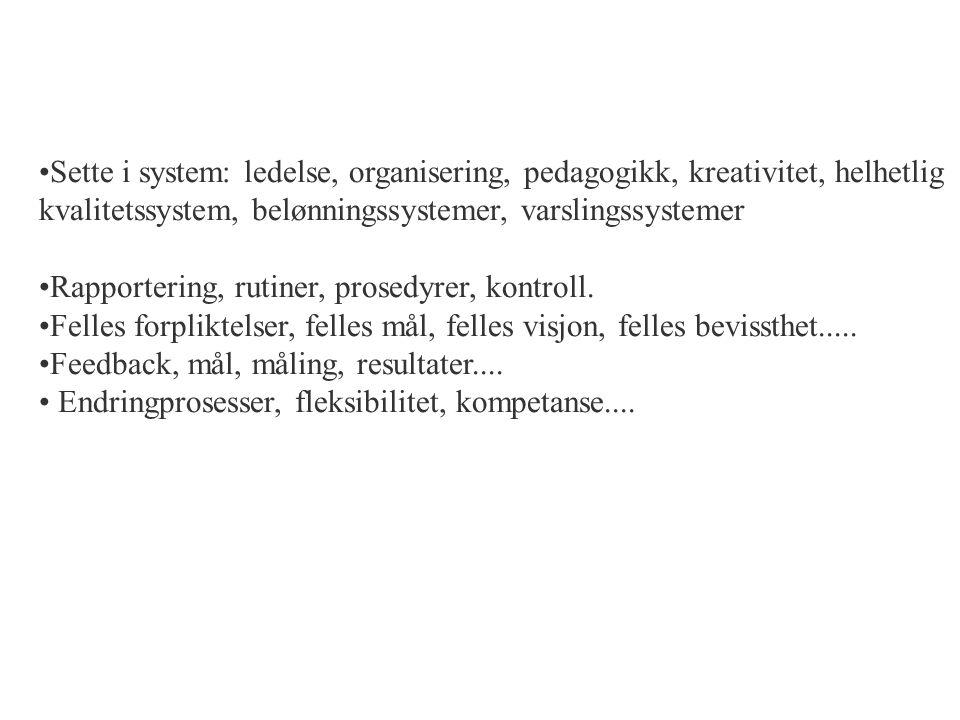 Sette i system: ledelse, organisering, pedagogikk, kreativitet, helhetlig kvalitetssystem, belønningssystemer, varslingssystemer