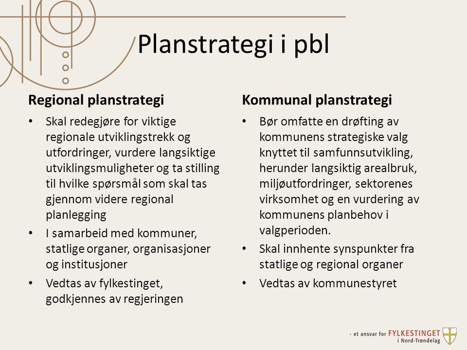 Planstrategi i pbl Regional planstrategi Kommunal planstrategi