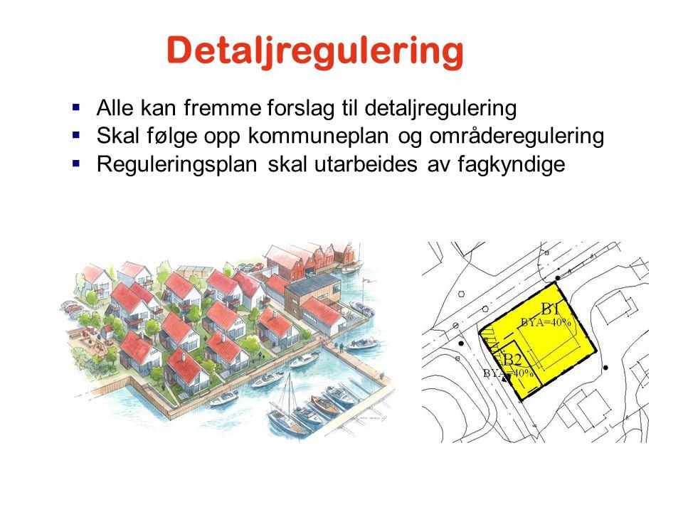 Detaljregulering Alle kan fremme forslag til detaljregulering