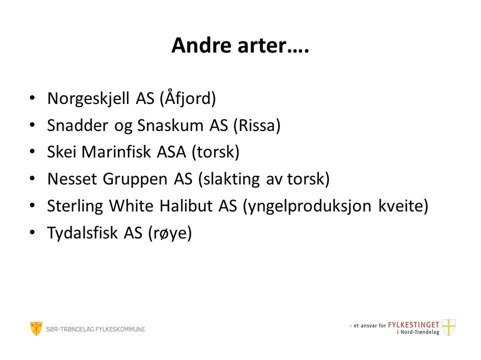 Andre arter…. Norgeskjell AS (Åfjord) Snadder og Snaskum AS (Rissa)