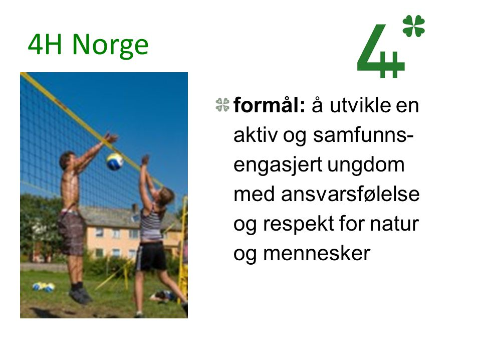 4H Norge formål: å utvikle en aktiv og samfunns-engasjert ungdom med ansvarsfølelse og respekt for natur og mennesker.