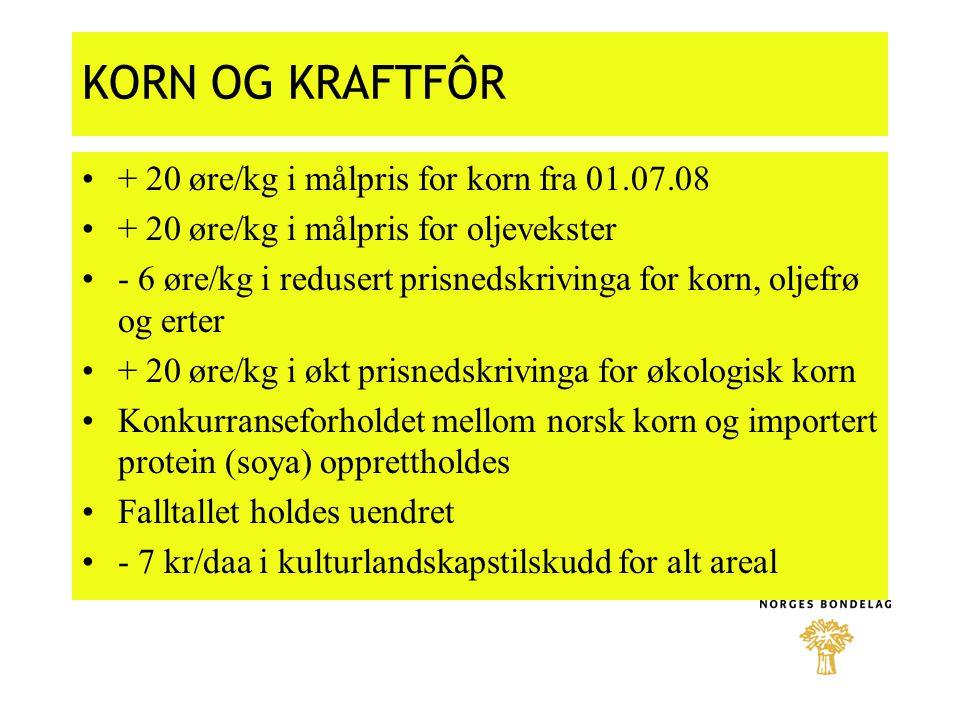 KORN OG KRAFTFÔR + 20 øre/kg i målpris for korn fra 01.07.08