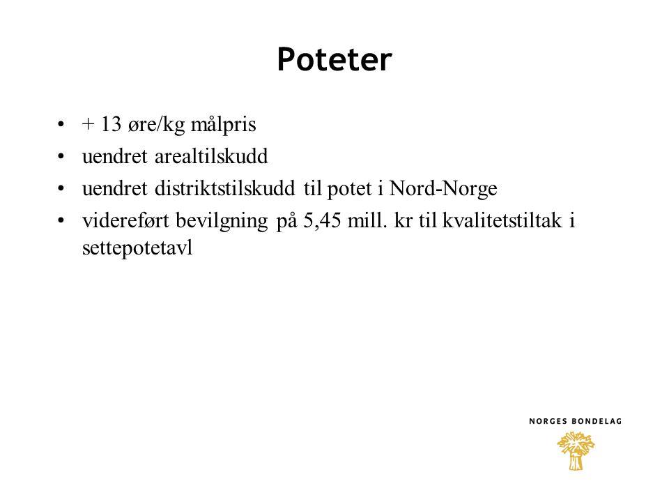 Poteter + 13 øre/kg målpris uendret arealtilskudd