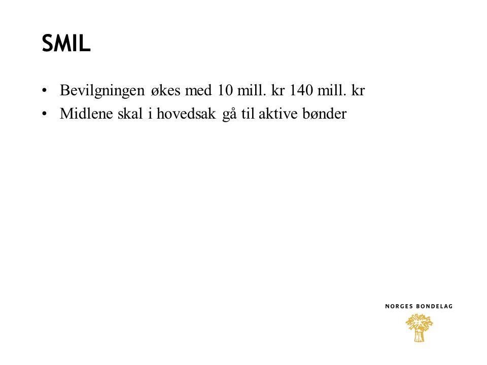 SMIL Bevilgningen økes med 10 mill. kr 140 mill. kr
