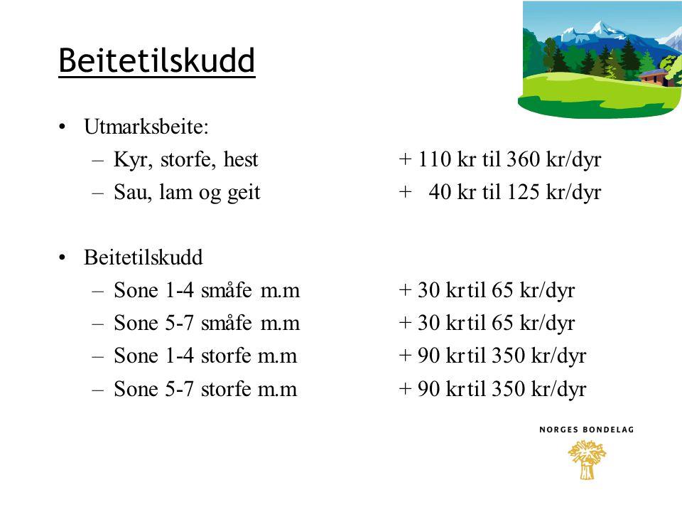 Beitetilskudd Utmarksbeite: Kyr, storfe, hest + 110 kr til 360 kr/dyr