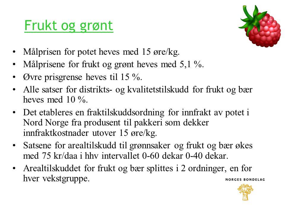 Frukt og grønt Målprisen for potet heves med 15 øre/kg.