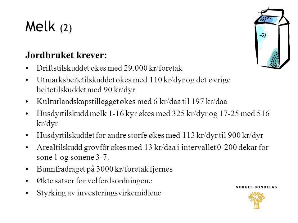 Melk (2) Jordbruket krever:
