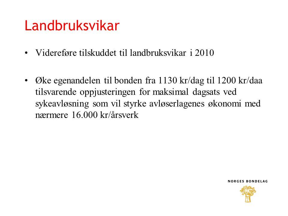 Landbruksvikar Videreføre tilskuddet til landbruksvikar i 2010