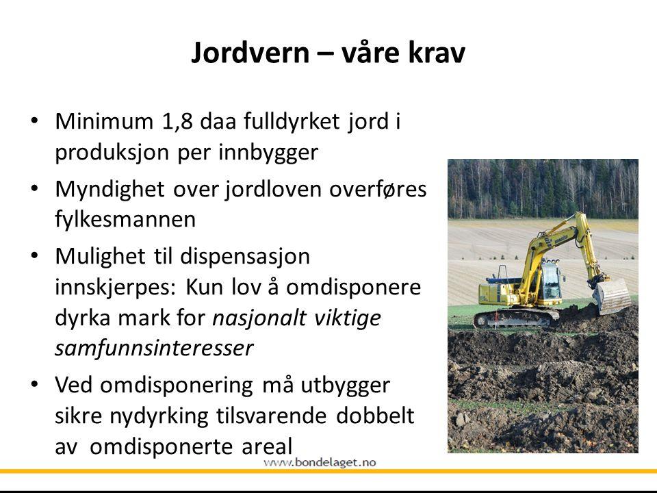 10.09.2004 Jordvern – våre krav. Minimum 1,8 daa fulldyrket jord i produksjon per innbygger. Myndighet over jordloven overføres fylkesmannen.
