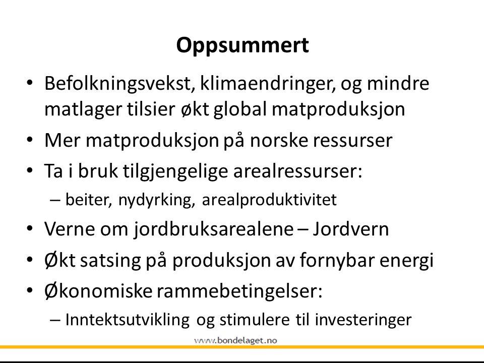 Oppsummert Befolkningsvekst, klimaendringer, og mindre matlager tilsier økt global matproduksjon. Mer matproduksjon på norske ressurser.