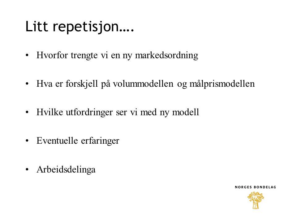 Litt repetisjon…. Hvorfor trengte vi en ny markedsordning