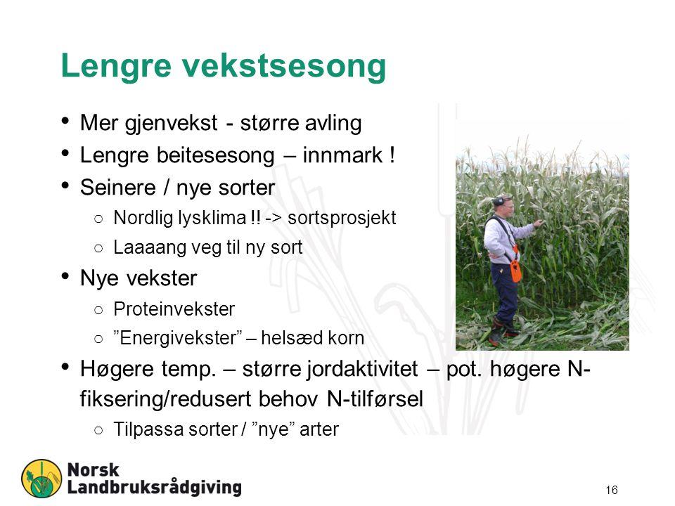 Lengre vekstsesong Mer gjenvekst - større avling