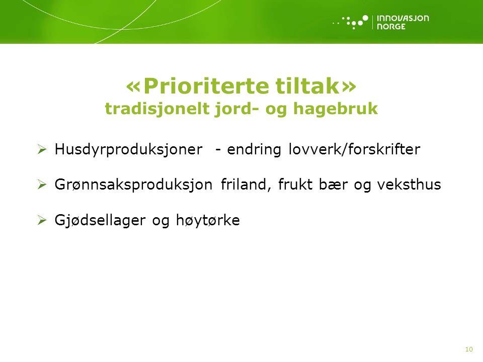 «Prioriterte tiltak» tradisjonelt jord- og hagebruk