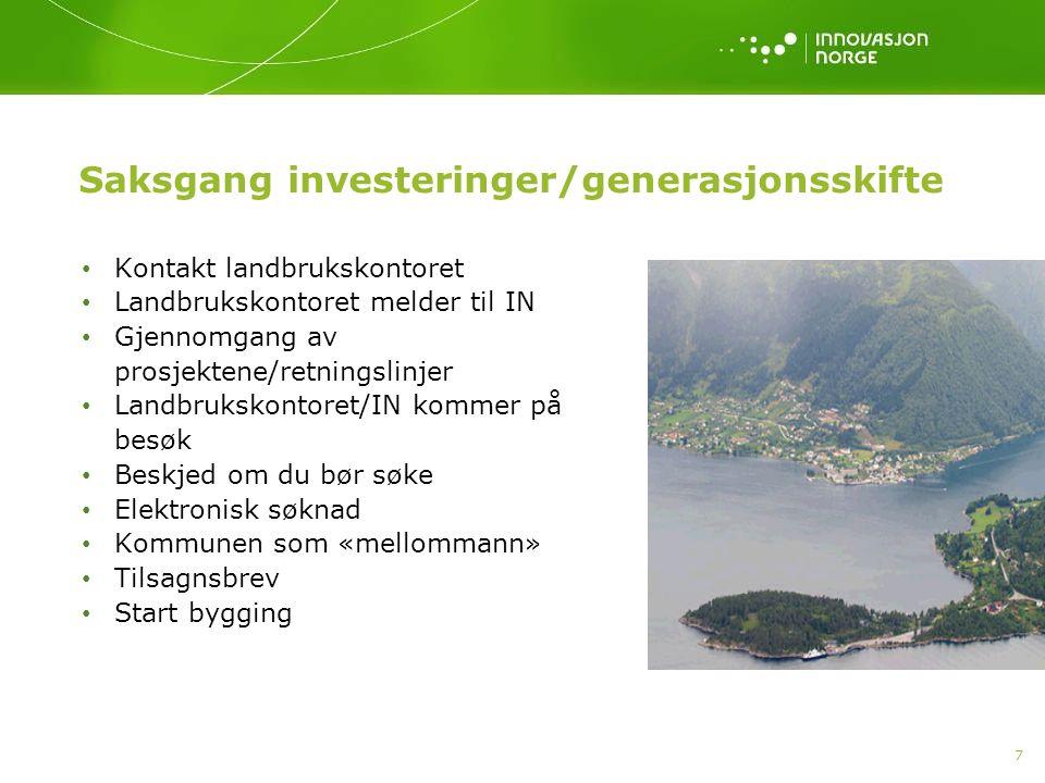 Saksgang investeringer/generasjonsskifte