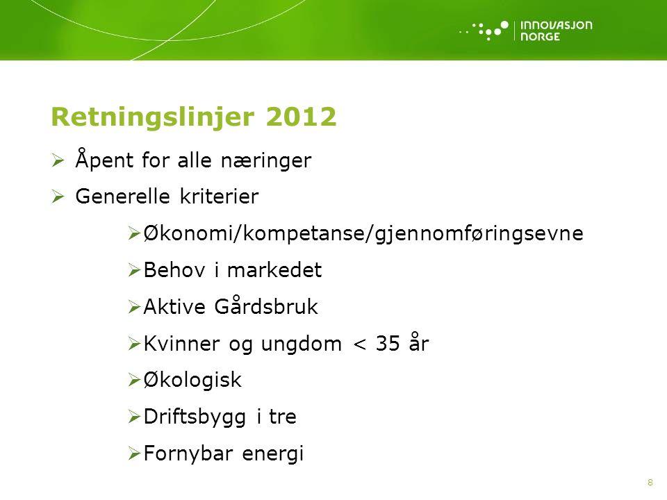 Retningslinjer 2012 Åpent for alle næringer Generelle kriterier