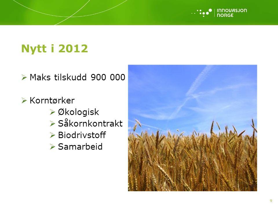 Nytt i 2012 Maks tilskudd 900 000 Korntørker Økologisk Såkornkontrakt