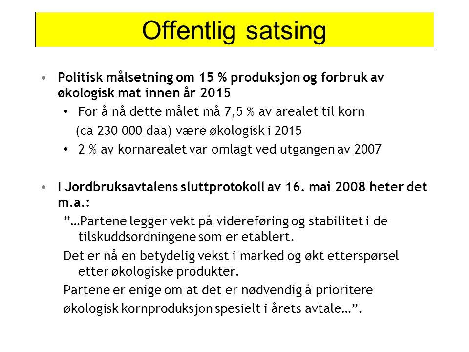 Offentlig satsing Politisk målsetning om 15 % produksjon og forbruk av økologisk mat innen år 2015.