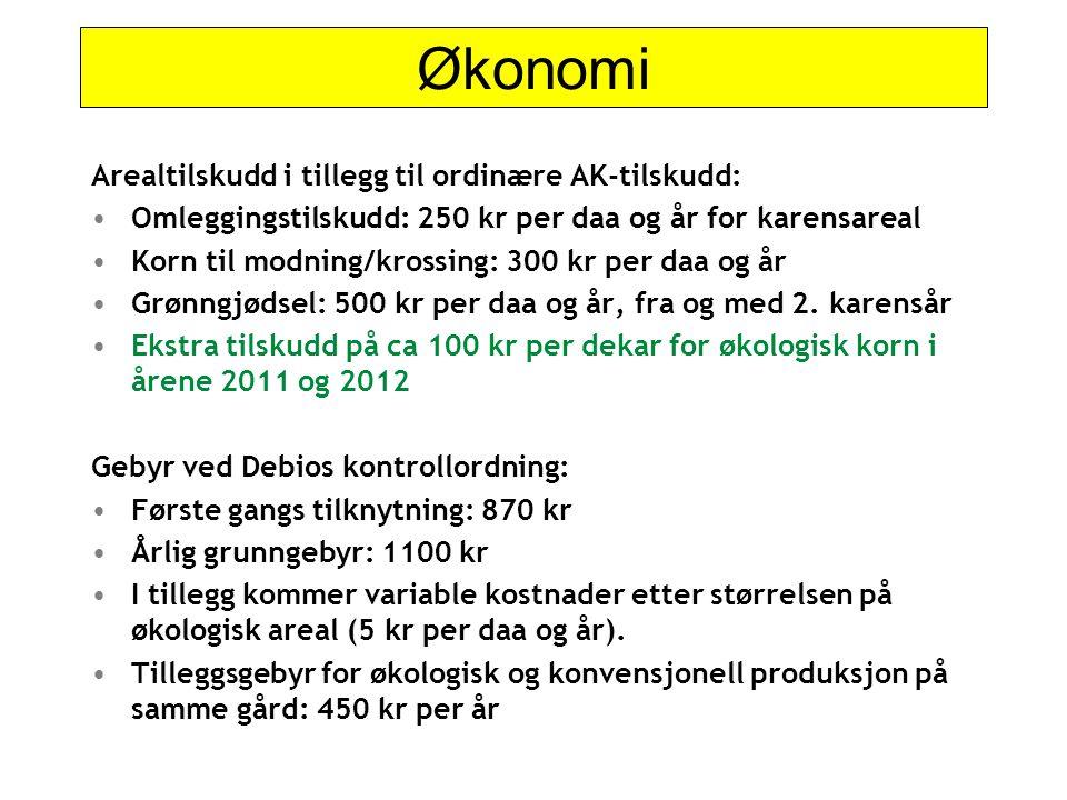Økonomi Arealtilskudd i tillegg til ordinære AK-tilskudd: