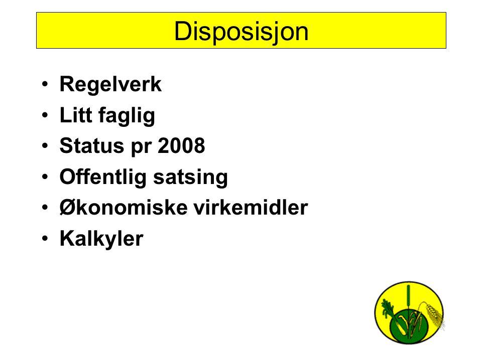 Disposisjon Regelverk Litt faglig Status pr 2008 Offentlig satsing