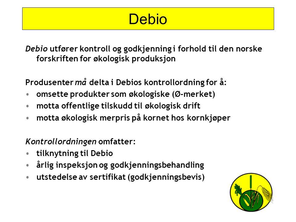 Debio Debio utfører kontroll og godkjenning i forhold til den norske forskriften for økologisk produksjon.