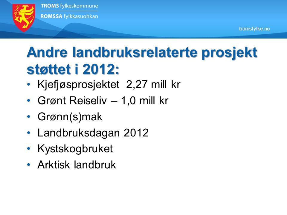 Andre landbruksrelaterte prosjekt støttet i 2012: