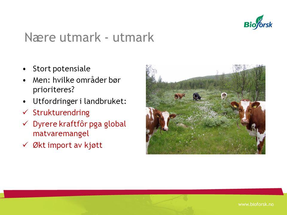 Nære utmark - utmark Stort potensiale