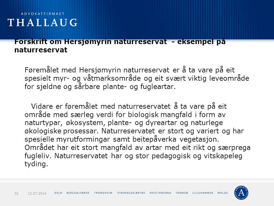 Forskrift om Hersjømyrin naturreservat - eksempel på naturreservat