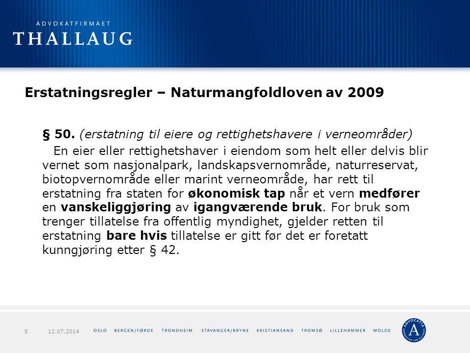 Erstatningsregler – Naturmangfoldloven av 2009