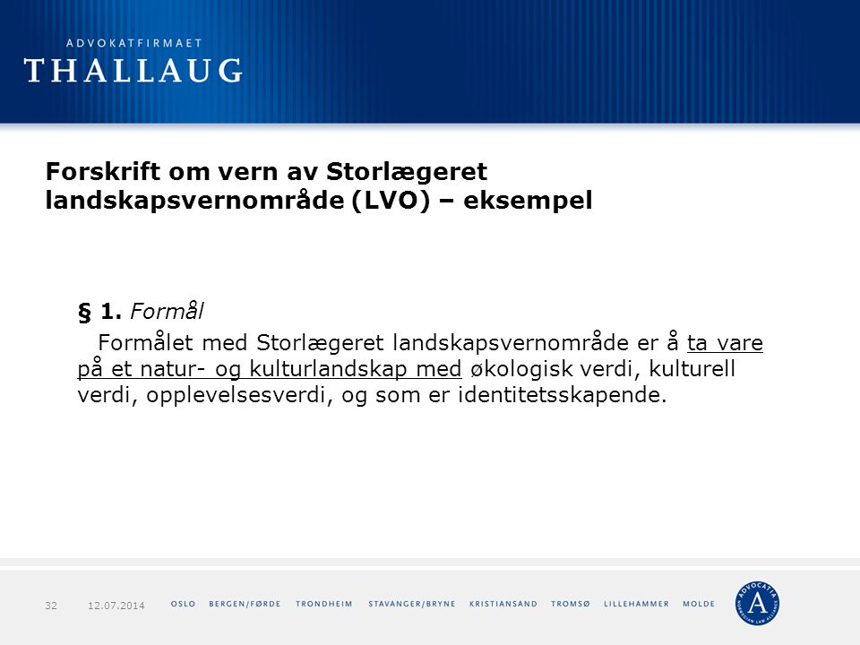 Forskrift om vern av Storlægeret landskapsvernområde (LVO) – eksempel