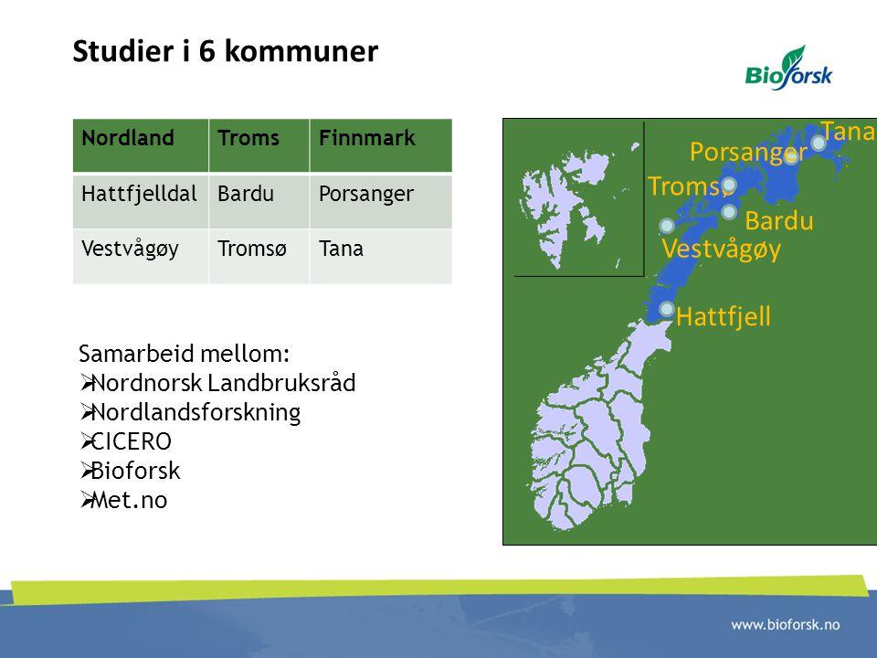 Studier i 6 kommuner Tana Porsanger Tromsø Bardu Vestvågøy Hattfjell