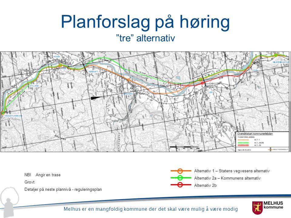 Planforslag på høring tre alternativ