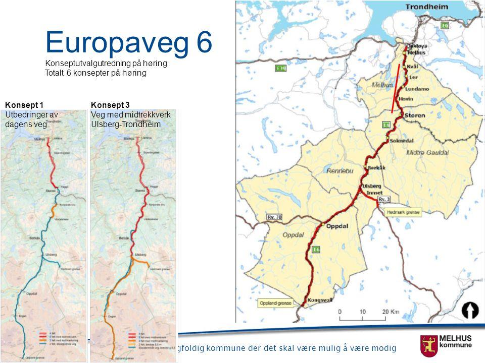 Europaveg 6 Konseptutvalgutredning på høring Totalt 6 konsepter på høring. Konsept 1 Utbedringer av dagens veg.
