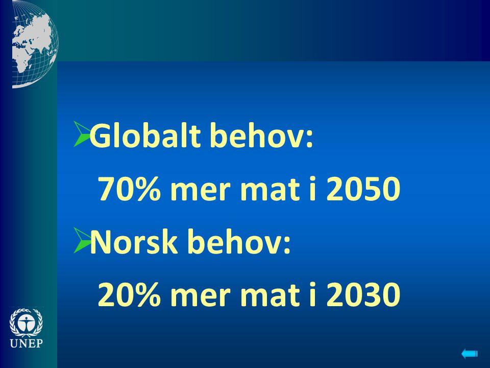 Globalt behov: 70% mer mat i 2050 Norsk behov: 20% mer mat i 2030