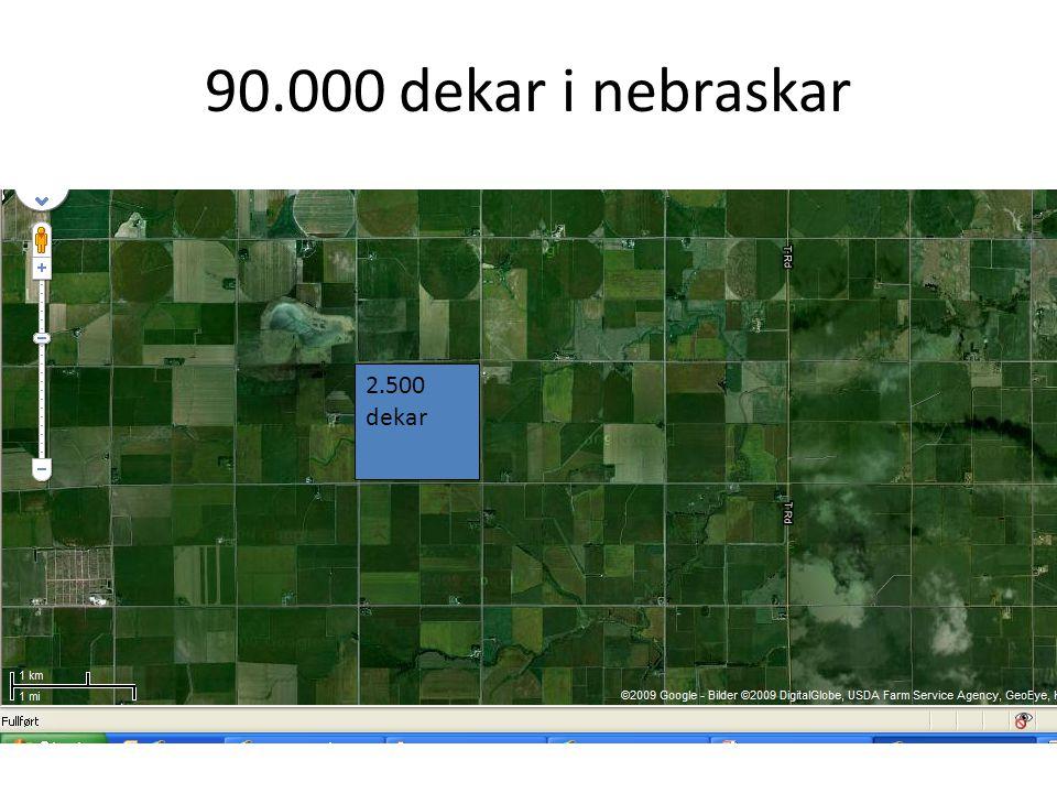 90.000 dekar i nebraskar 2.500 dekar