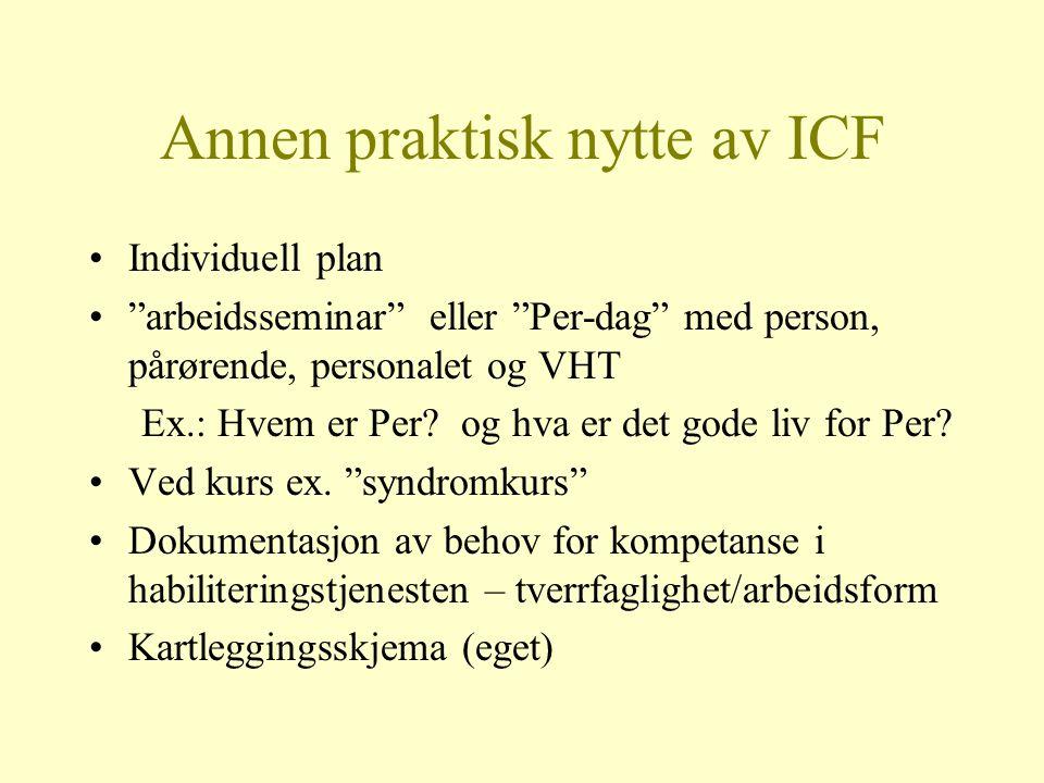 Annen praktisk nytte av ICF