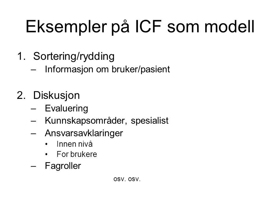 Eksempler på ICF som modell
