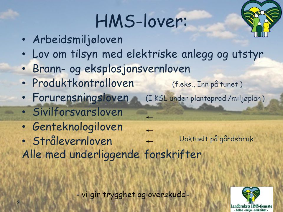 (I KSL under planteprod./miljøplan )