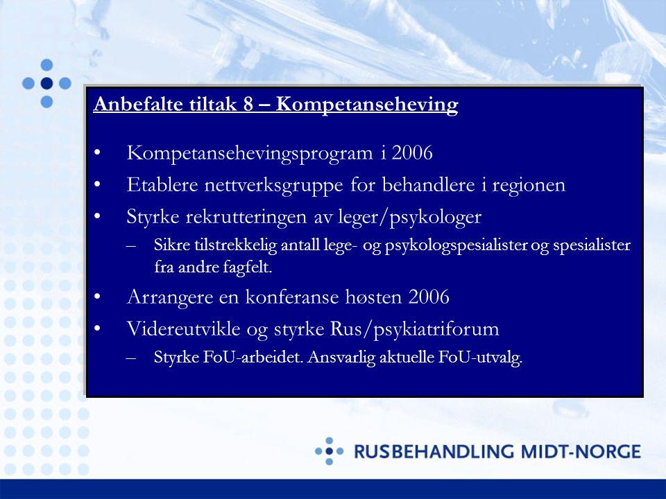 Anbefalte tiltak 8 – Kompetanseheving Kompetansehevingsprogram i 2006